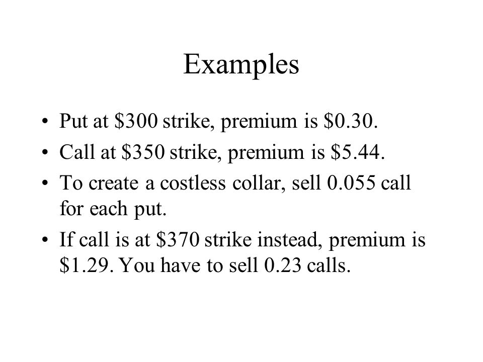 Examples Put at $300 strike, premium is $0.30.