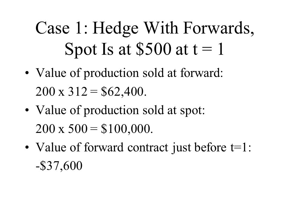Case 1: Hedge With Forwards, Spot Is at $500 at t = 1
