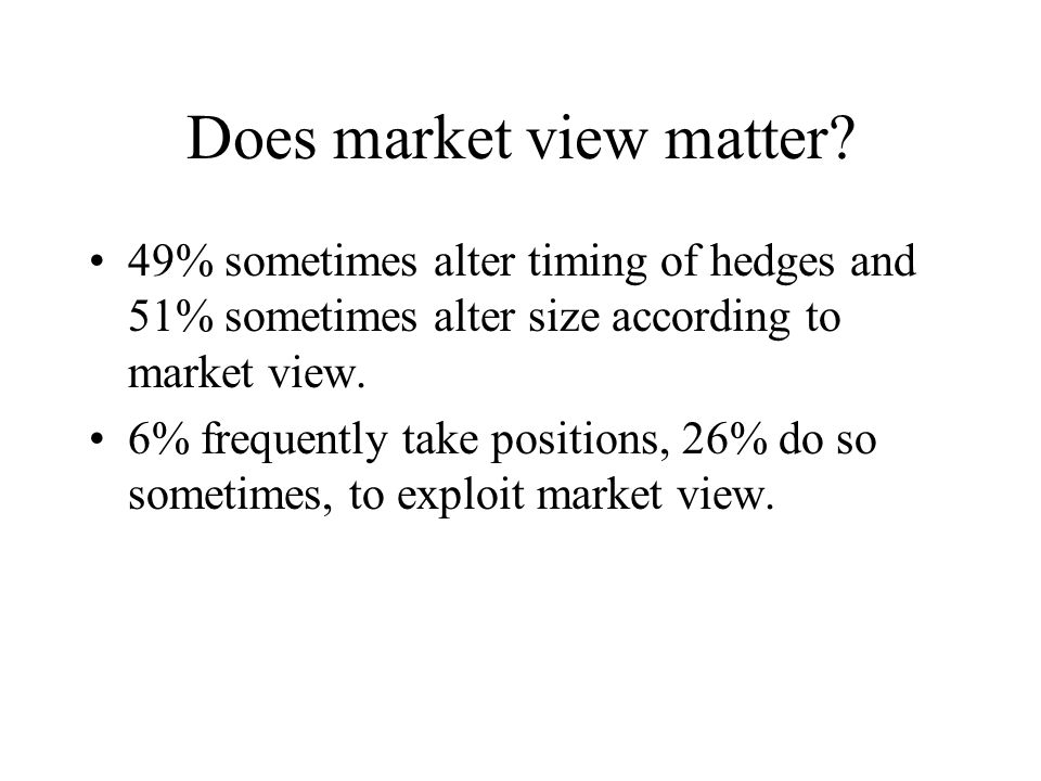Does market view matter