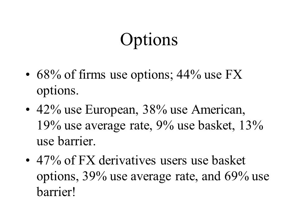 Options 68% of firms use options; 44% use FX options.