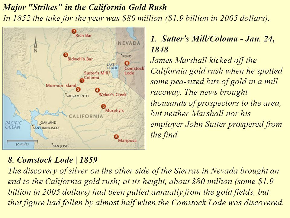 Major Strikes in the California Gold Rush