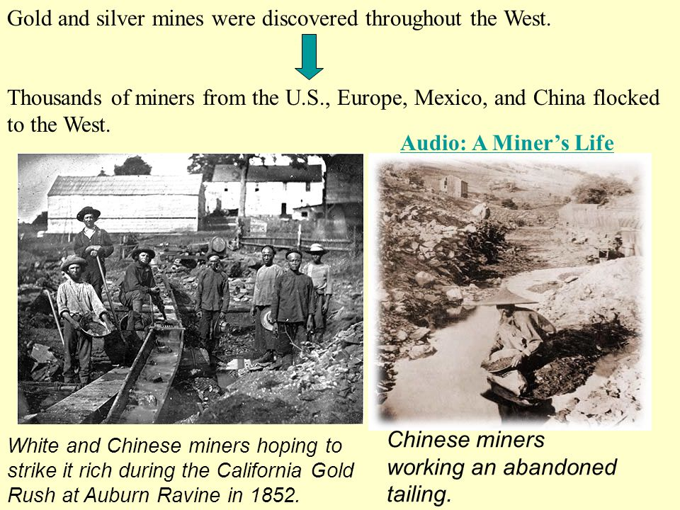 Gold and silver mines were discovered throughout the West.
