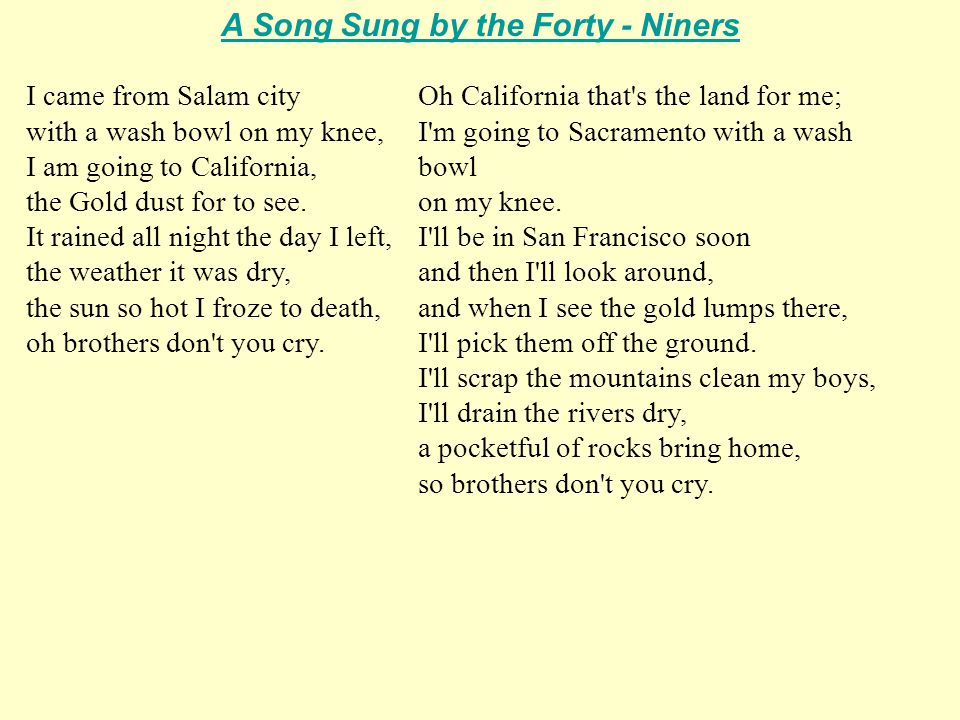 A Song Sung by the Forty - Niners