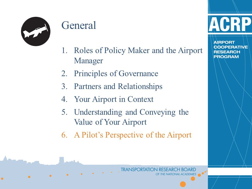 General Roles of Policy Maker and the Airport Manager