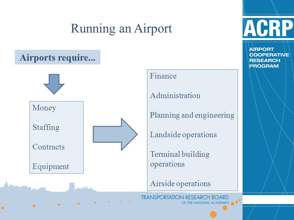 Running an Airport Airports require... Finance Administration
