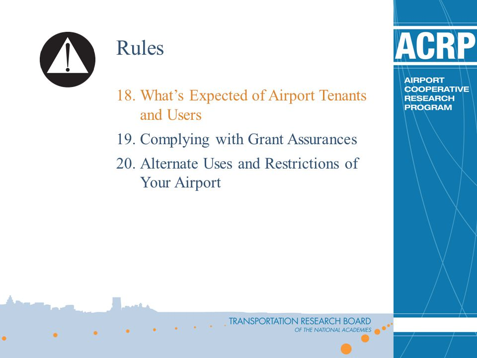 Rules What's Expected of Airport Tenants and Users