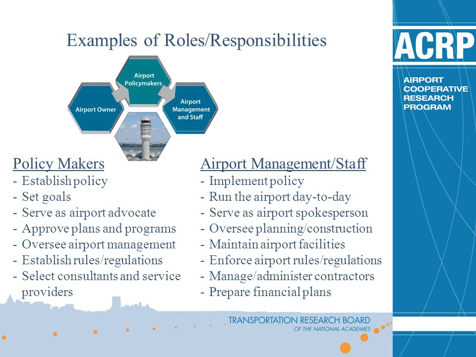 Examples of Roles/Responsibilities