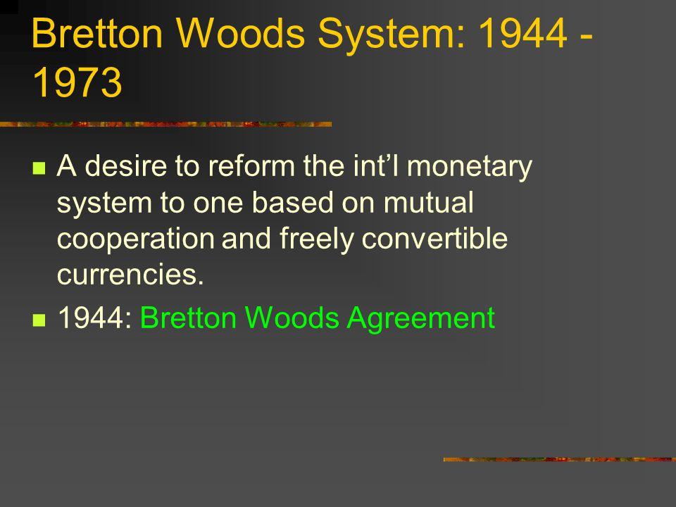 Bretton Woods System: 1944 - 1973