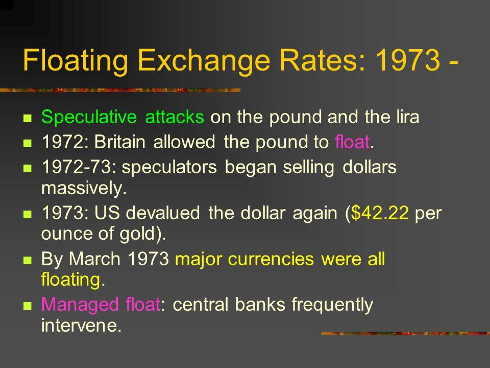 Floating Exchange Rates: 1973 -