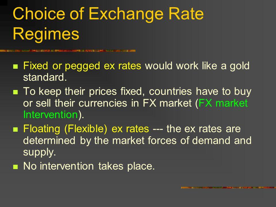 Choice of Exchange Rate Regimes