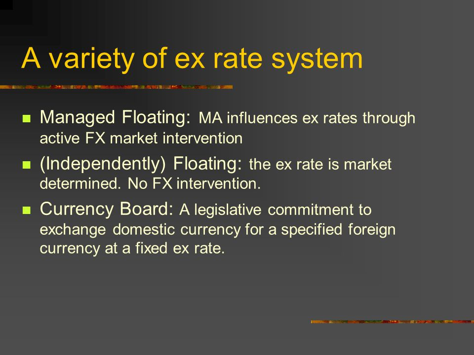 A variety of ex rate system