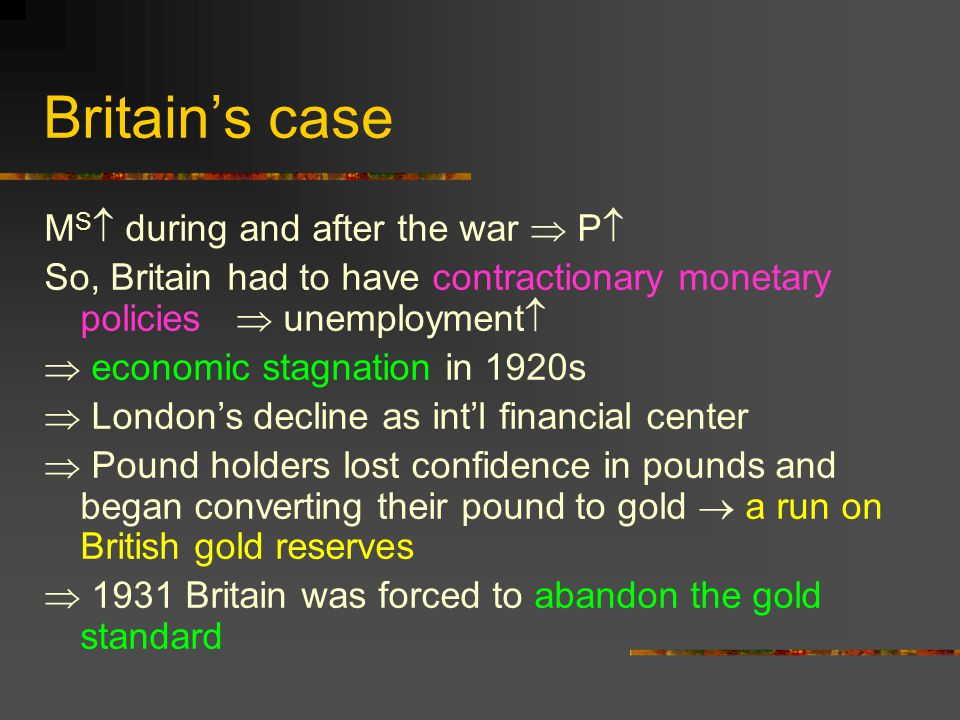 Britain's case MS during and after the war  P