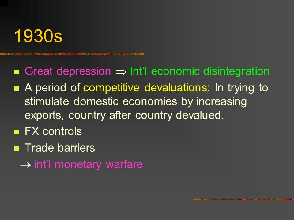1930s Great depression  Int'l economic disintegration