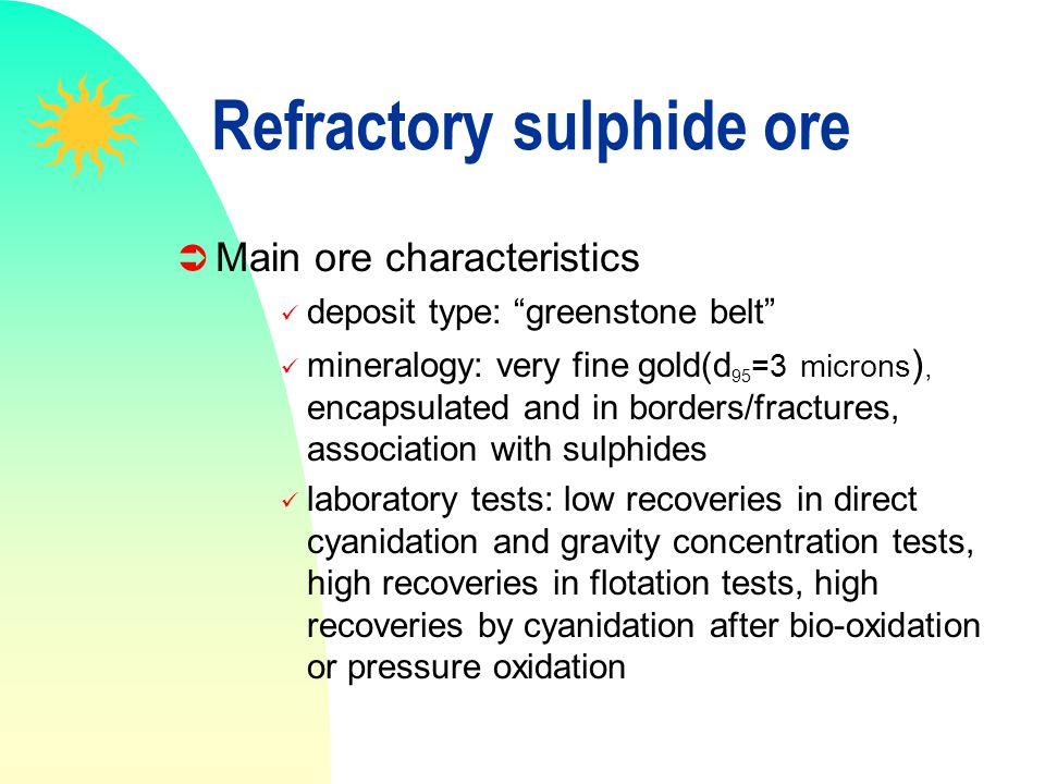 Refractory sulphide ore