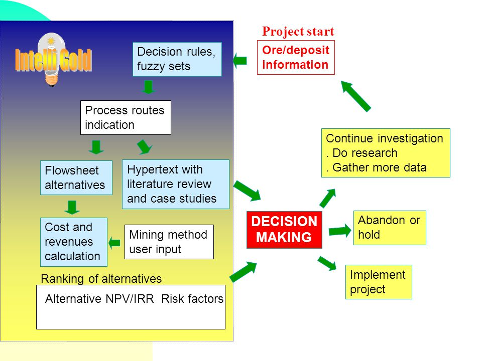 Intelli Gold Project start DECISION MAKING Decision rules, fuzzy sets
