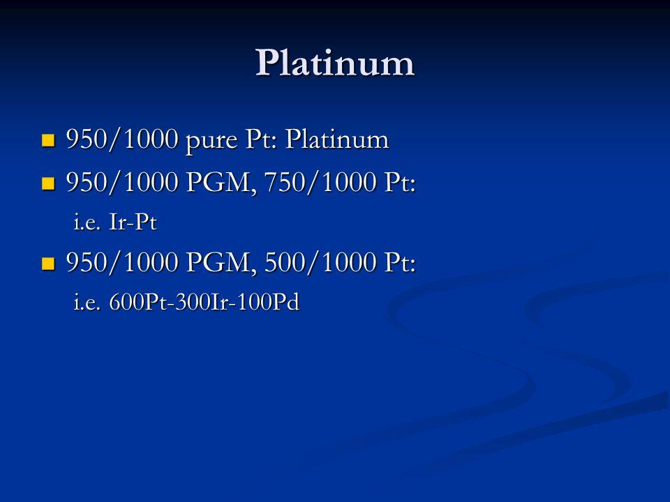 Platinum 950/1000 pure Pt: Platinum 950/1000 PGM, 750/1000 Pt: