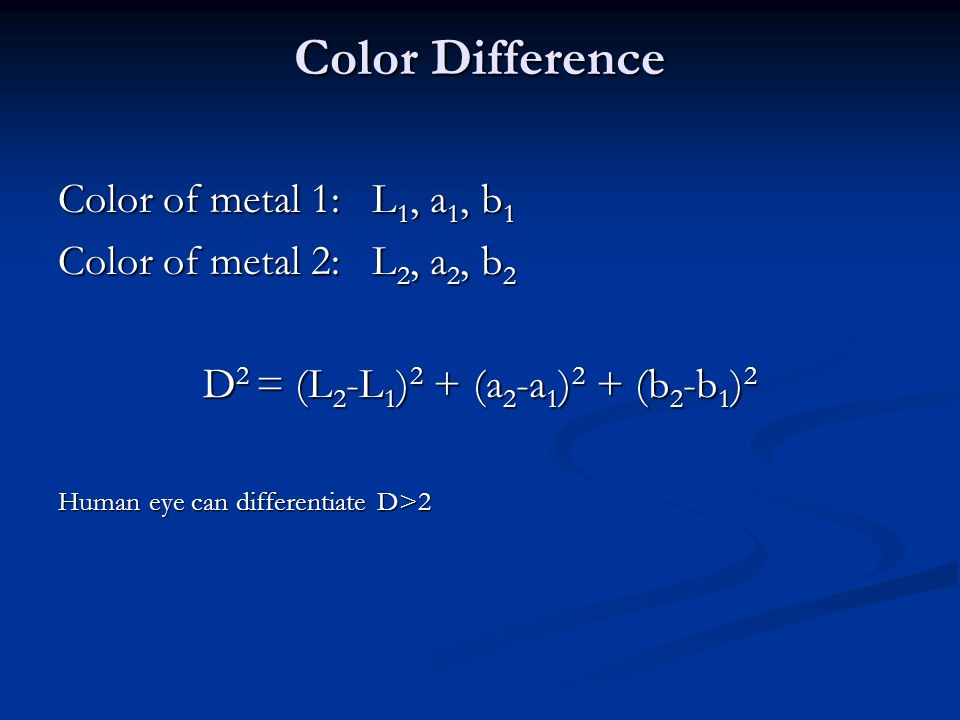 Color Difference Color of metal 1: L1, a1, b1