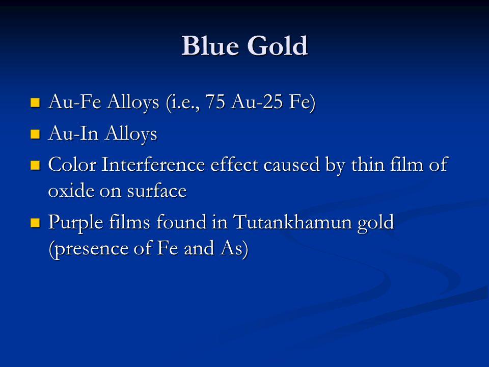 Blue Gold Au-Fe Alloys (i.e., 75 Au-25 Fe) Au-In Alloys