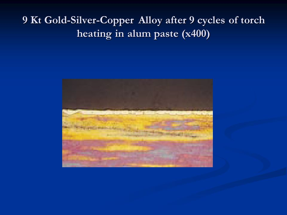 9 Kt Gold-Silver-Copper Alloy after 9 cycles of torch heating in alum paste (x400)