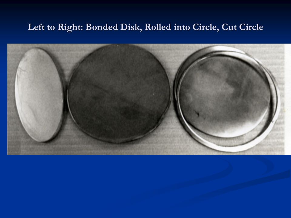 Left to Right: Bonded Disk, Rolled into Circle, Cut Circle