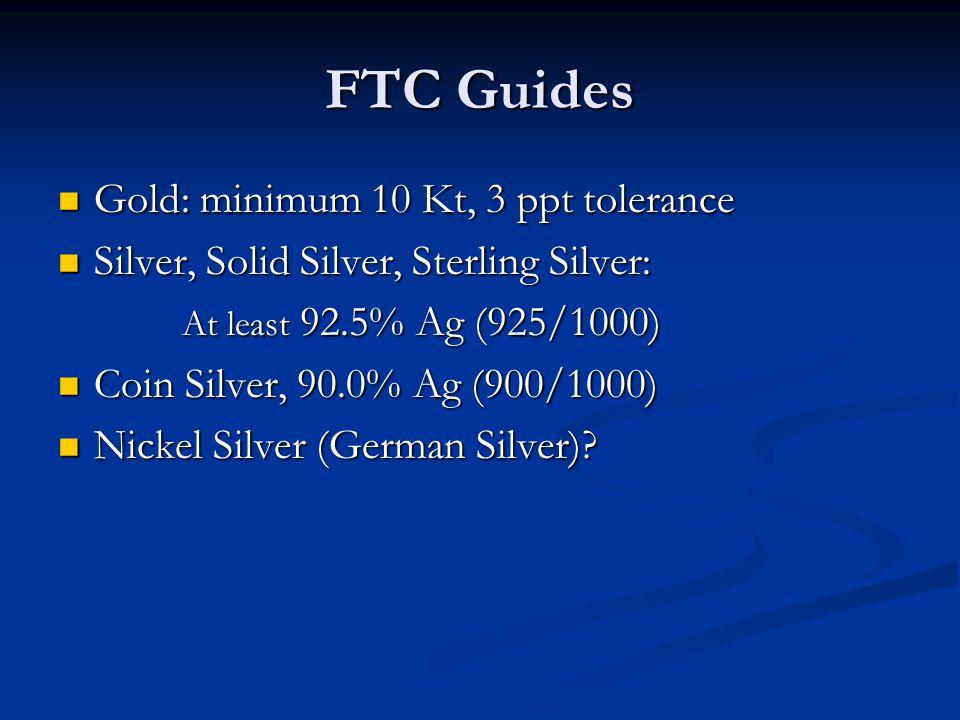 FTC Guides Gold: minimum 10 Kt, 3 ppt tolerance