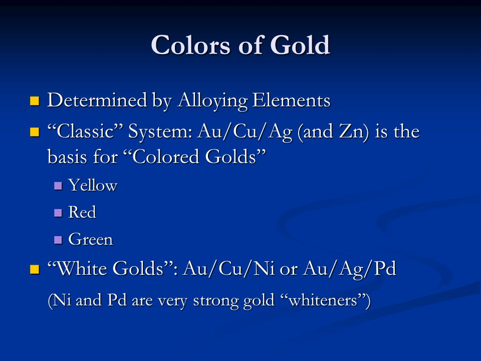 Colors of Gold Determined by Alloying Elements