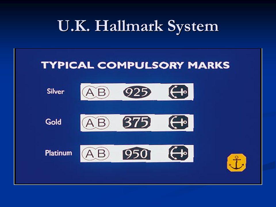U.K. Hallmark System Sponsor, Fineness and marking office (London, Birmingham, Sheffield and Edinburgh).