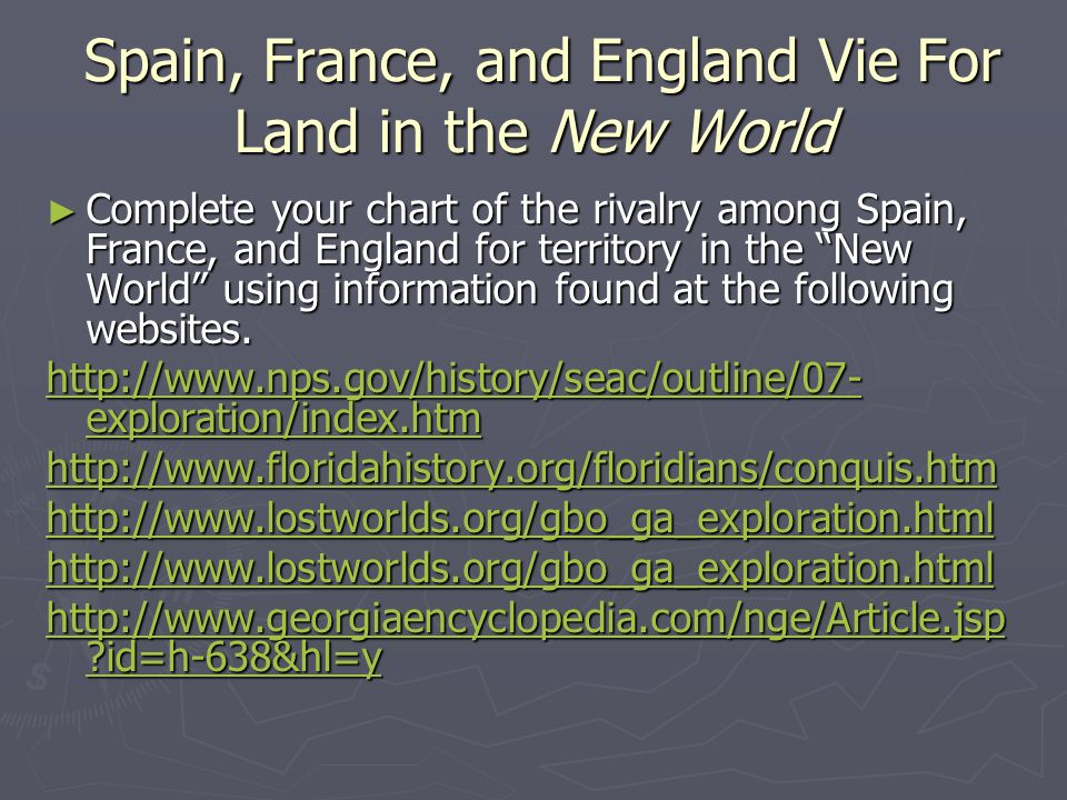 Spain, France, and England Vie For Land in the New World