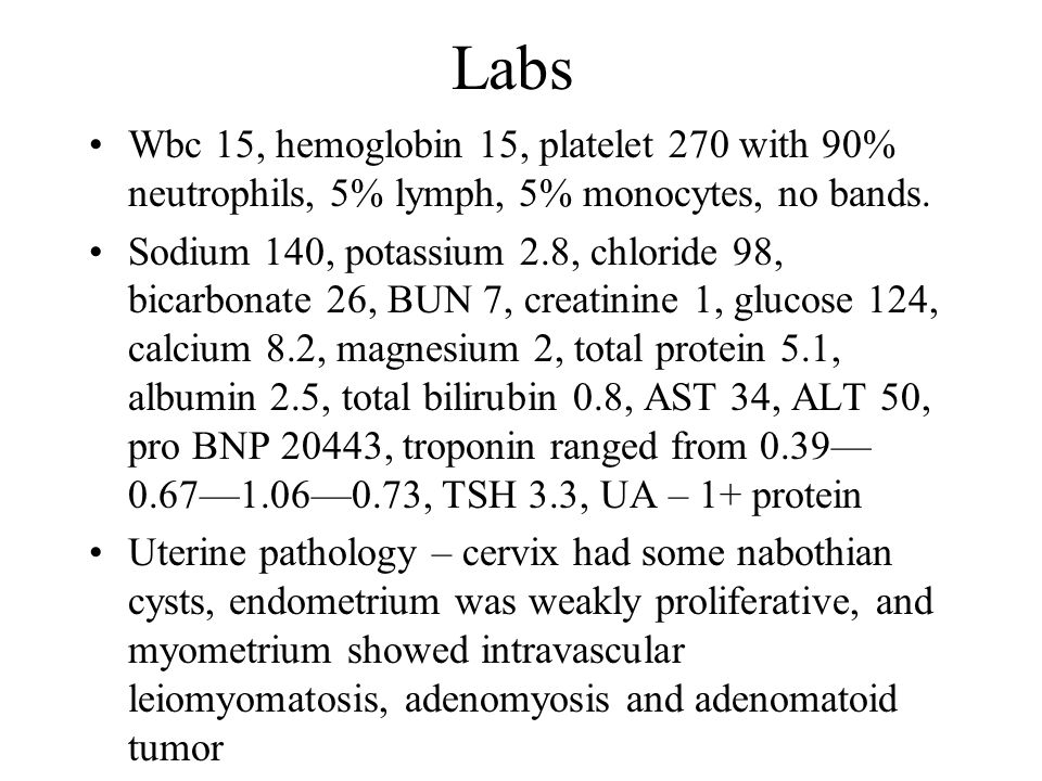Labs Wbc 15, hemoglobin 15, platelet 270 with 90% neutrophils, 5% lymph, 5% monocytes, no bands.