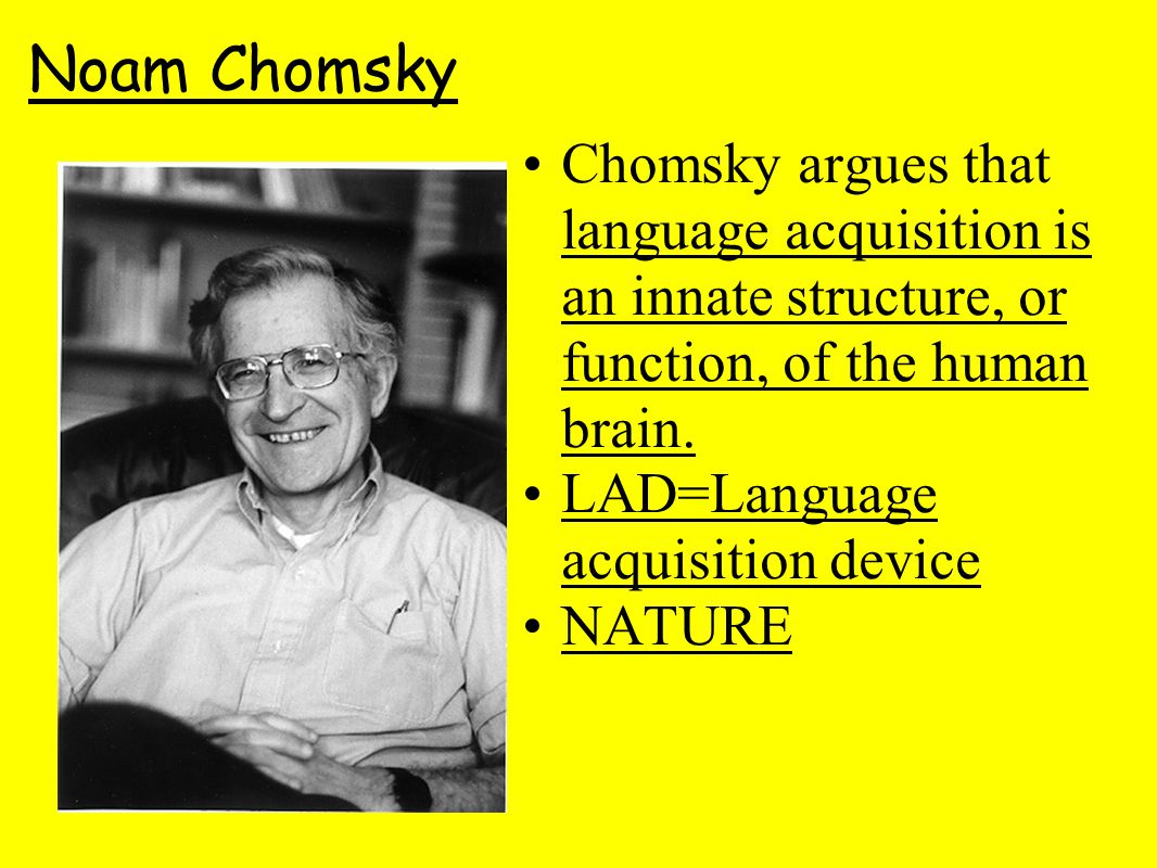 Noam Chomsky Chomsky argues that language acquisition is an innate structure, or function, of the human brain.