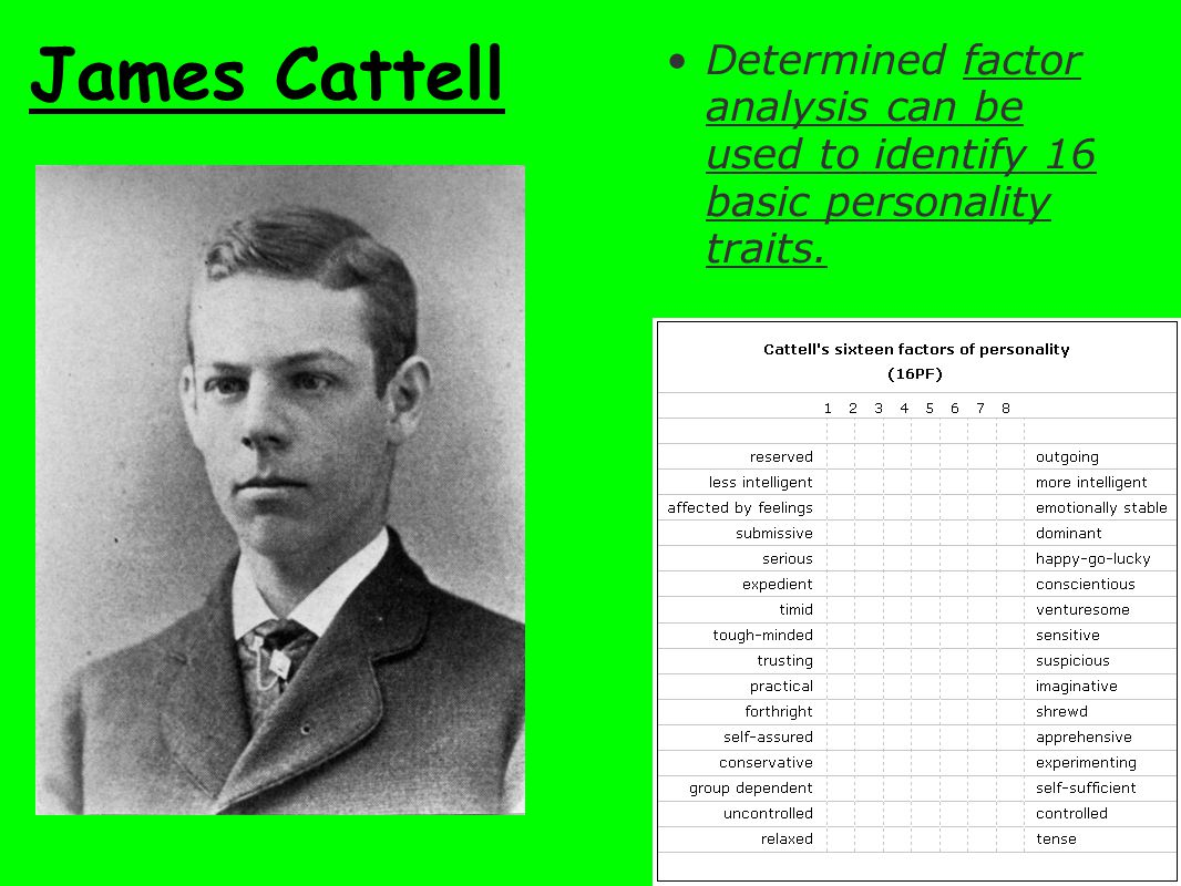 James Cattell Determined factor analysis can be used to identify 16 basic personality traits.