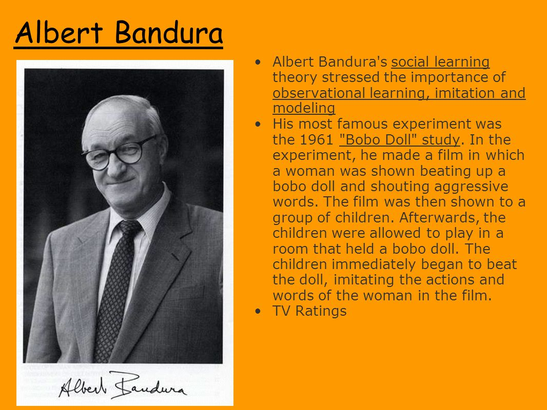 Albert Bandura Albert Bandura s social learning theory stressed the importance of observational learning, imitation and modeling.