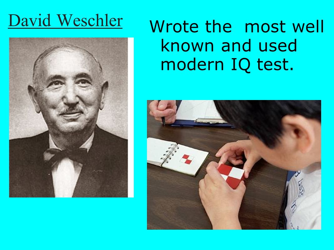 David Weschler Wrote the most well known and used modern IQ test.