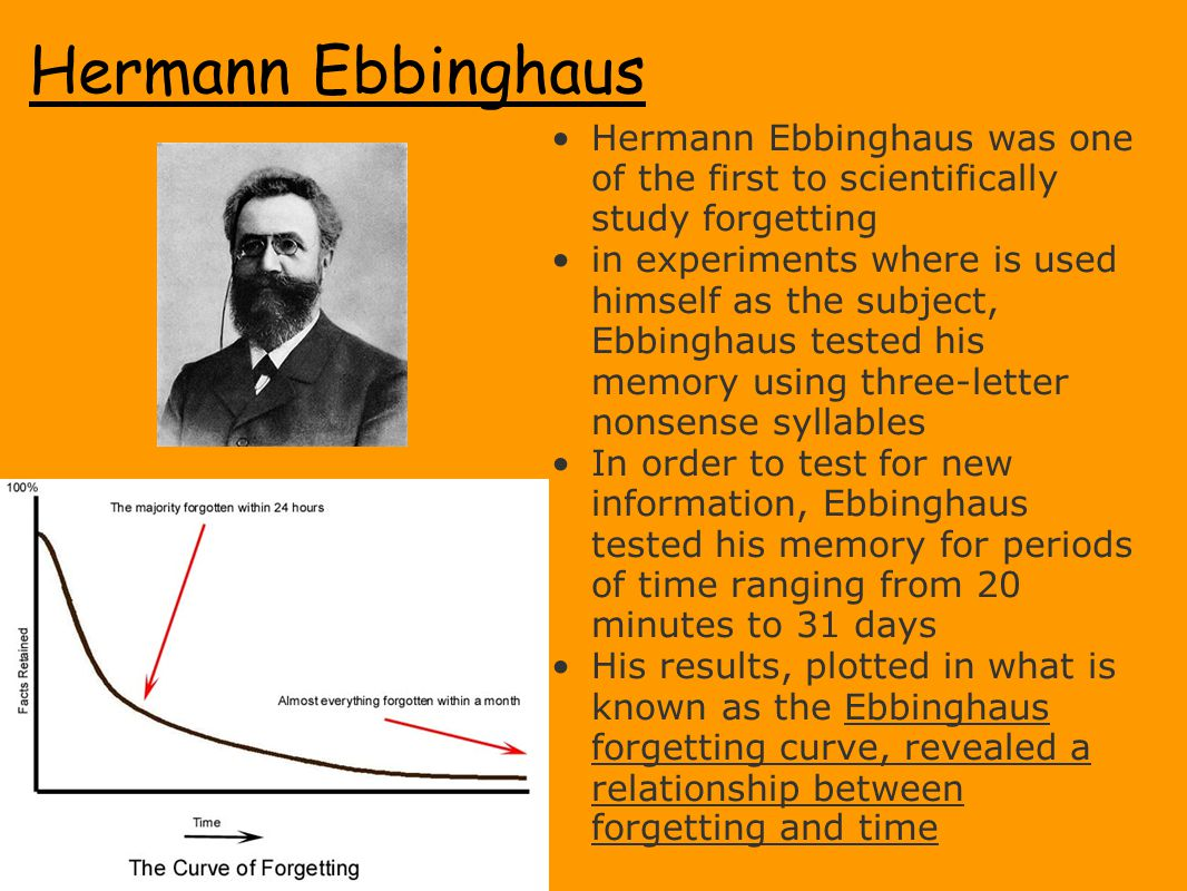 Hermann Ebbinghaus Hermann Ebbinghaus was one of the first to scientifically study forgetting.