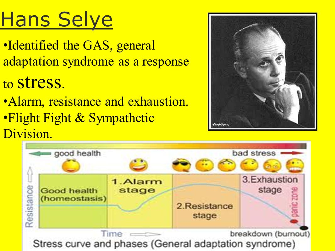 Hans Selye Identified the GAS, general adaptation syndrome as a response to stress. Alarm, resistance and exhaustion.