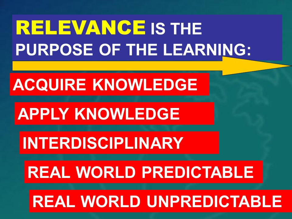 RELEVANCE IS THE PURPOSE OF THE LEARNING: