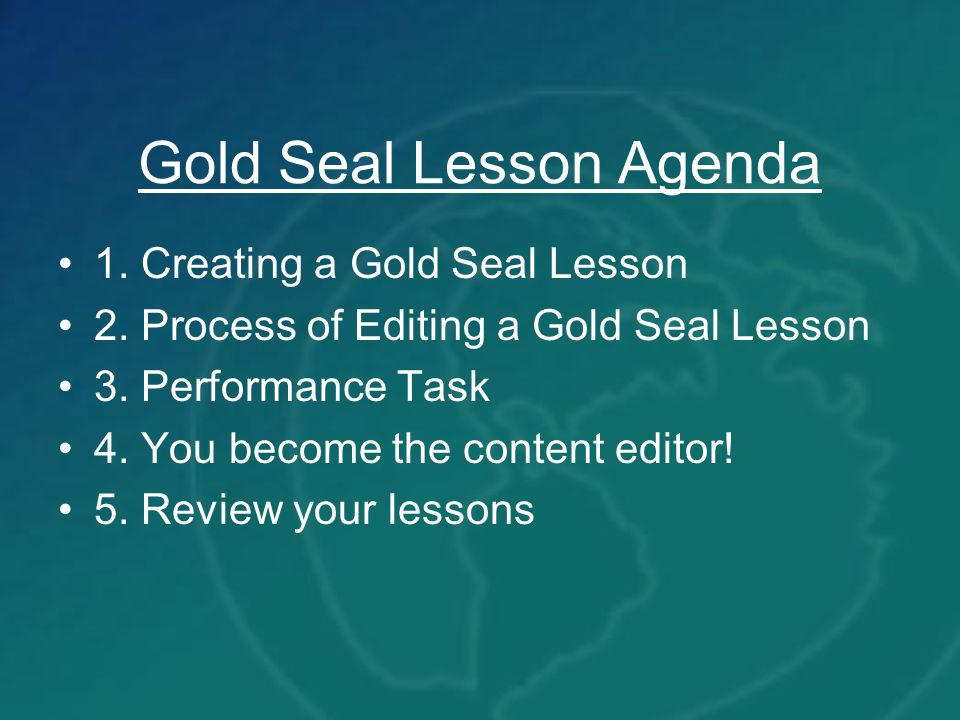 Gold Seal Lesson Agenda