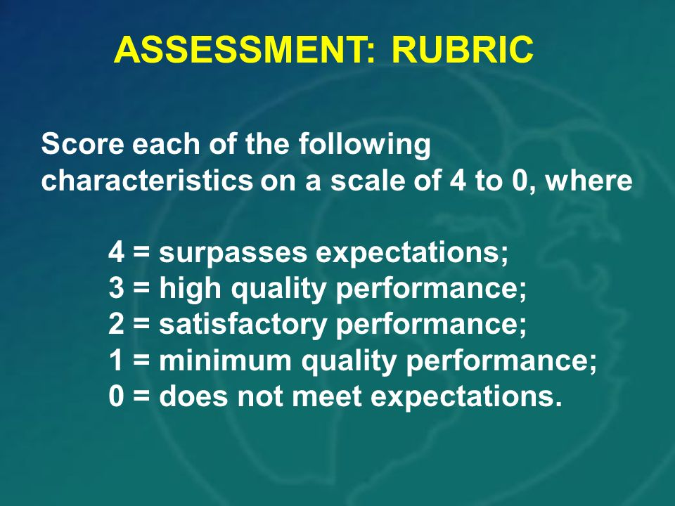 ASSESSMENT: RUBRIC Score each of the following characteristics on a scale of 4 to 0, where. 4 = surpasses expectations;