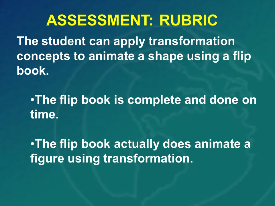 ASSESSMENT: RUBRIC The student can apply transformation concepts to animate a shape using a flip book.