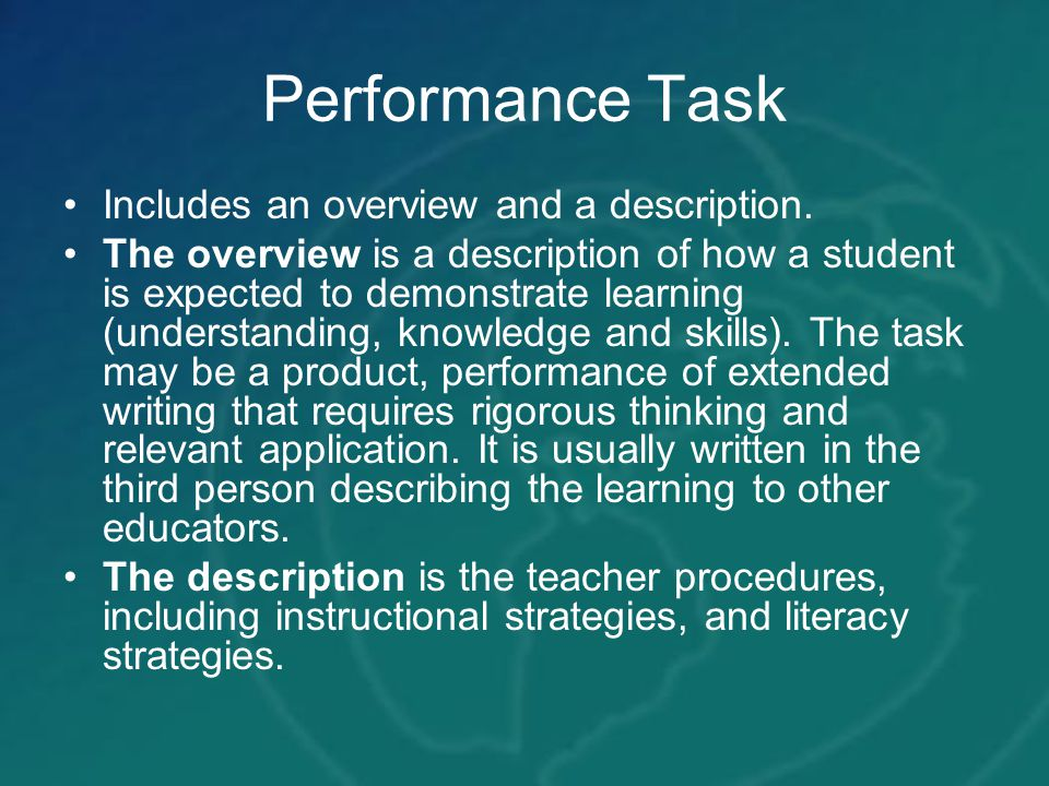 Performance Task Includes an overview and a description.