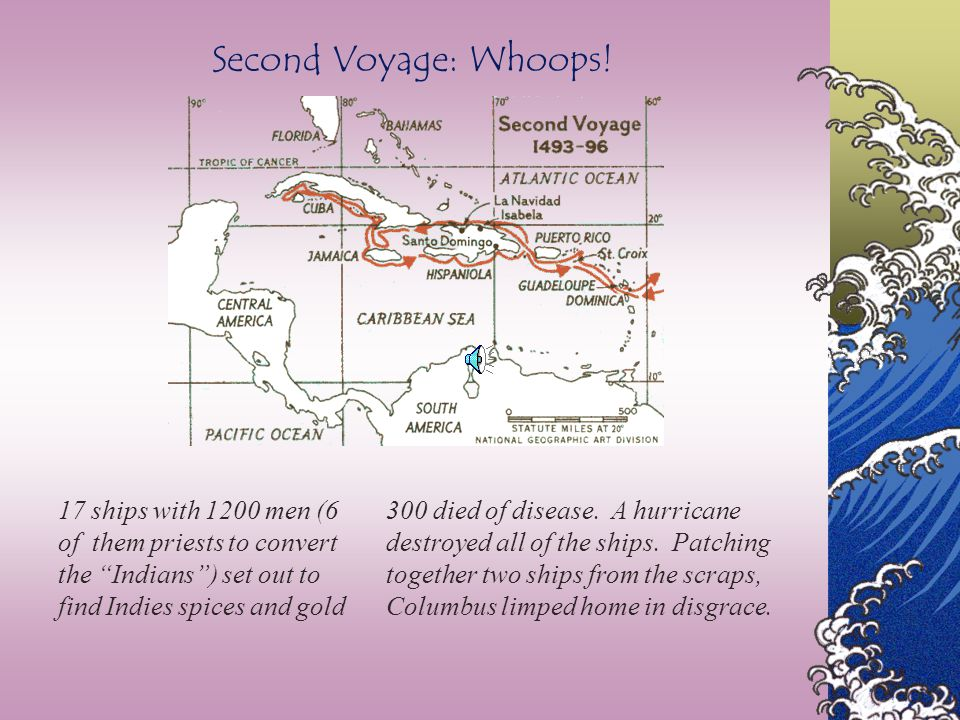 Second Voyage: Whoops! 17 ships with 1200 men (6 of them priests to convert the Indians ) set out to find Indies spices and gold.