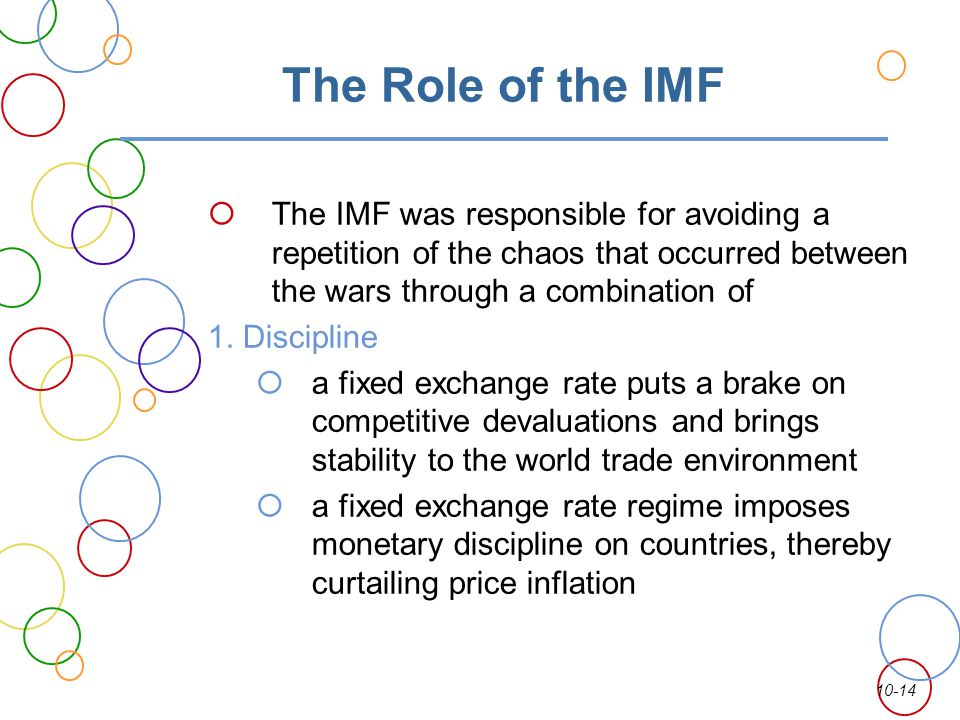 The Role of the IMF The IMF was responsible for avoiding a repetition of the chaos that occurred between the wars through a combination of.