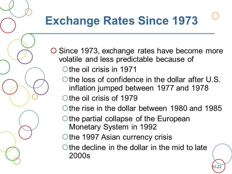 Exchange Rates Since 1973 Since 1973, exchange rates have become more volatile and less predictable because of.