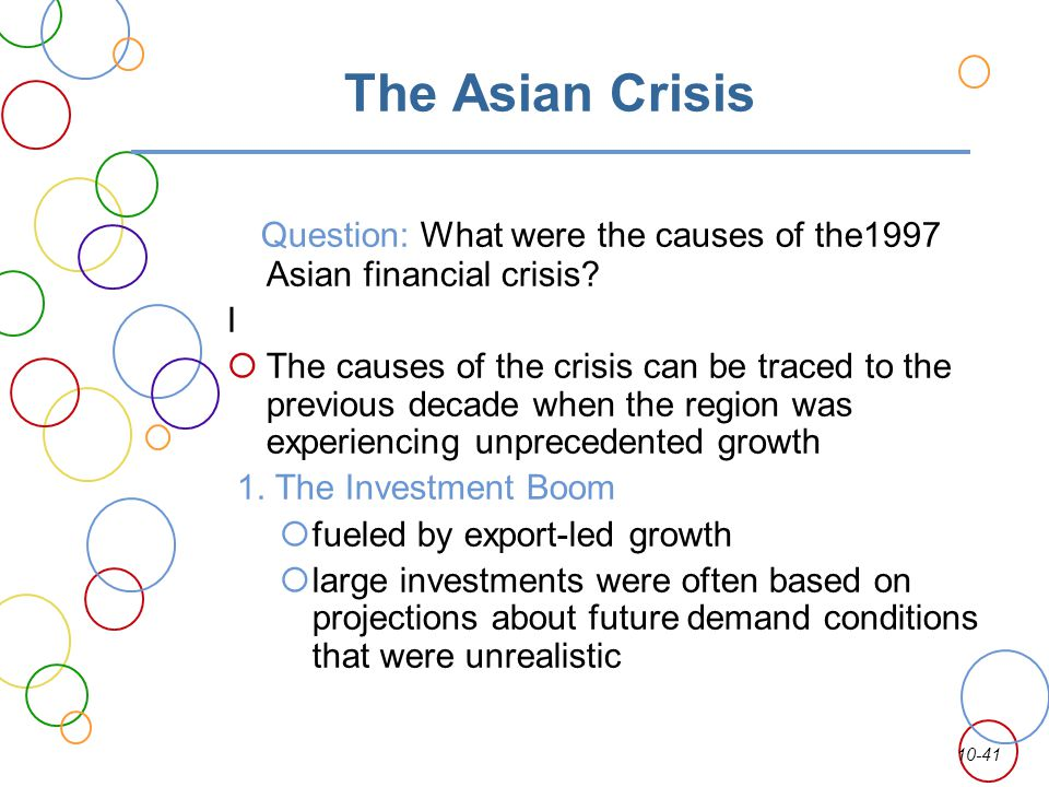 The Asian Crisis Question: What were the causes of the1997 Asian financial crisis I.