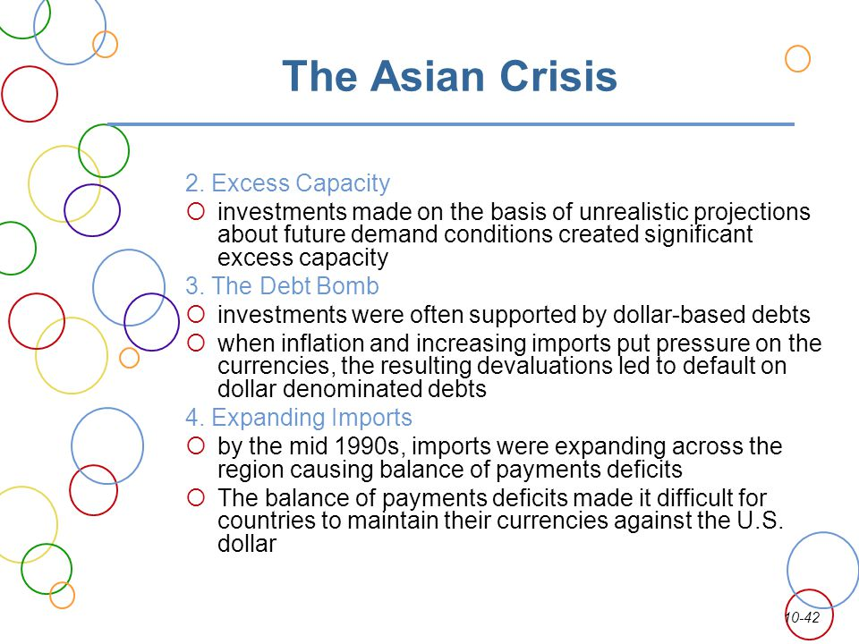 The Asian Crisis 2. Excess Capacity