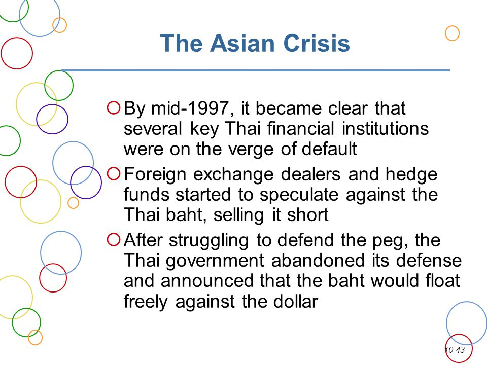 The Asian Crisis By mid-1997, it became clear that several key Thai financial institutions were on the verge of default.