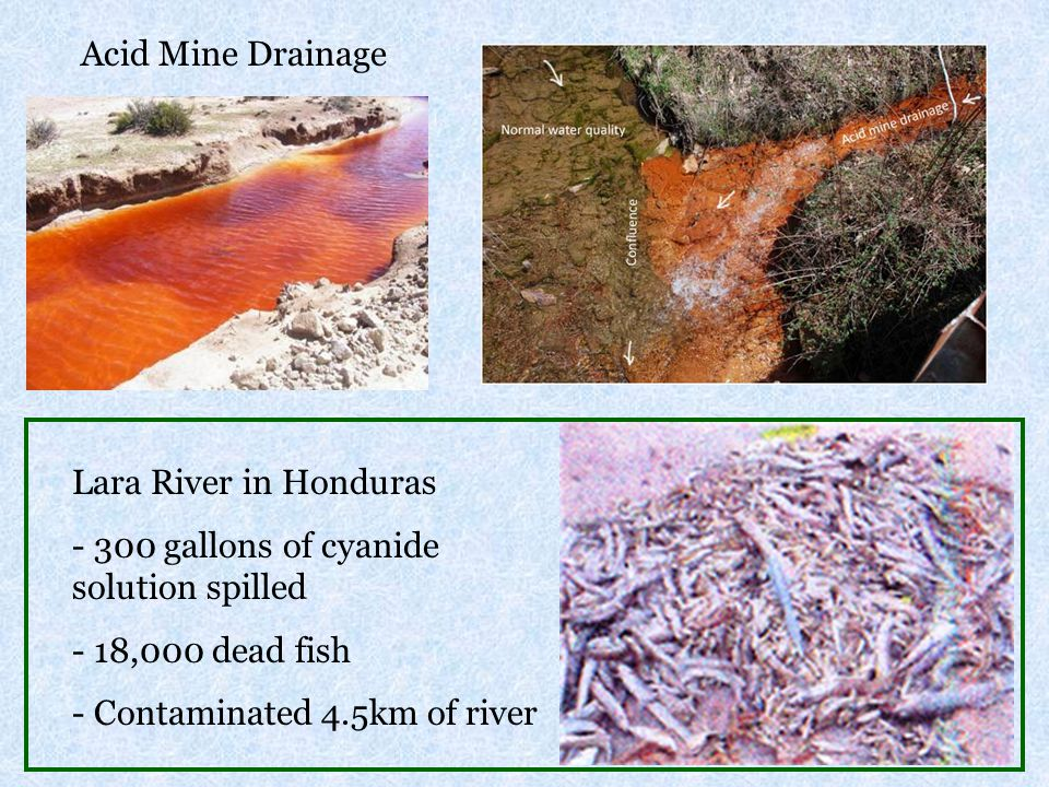 Acid Mine Drainage Lara River in Honduras. 300 gallons of cyanide solution spilled. 18,000 dead fish.