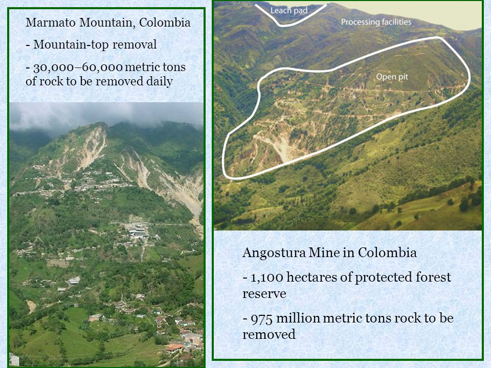 Angostura Mine in Colombia 1,100 hectares of protected forest reserve
