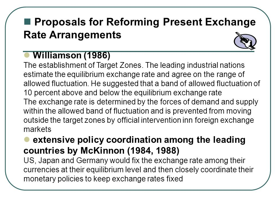 Proposals for Reforming Present Exchange Rate Arrangements