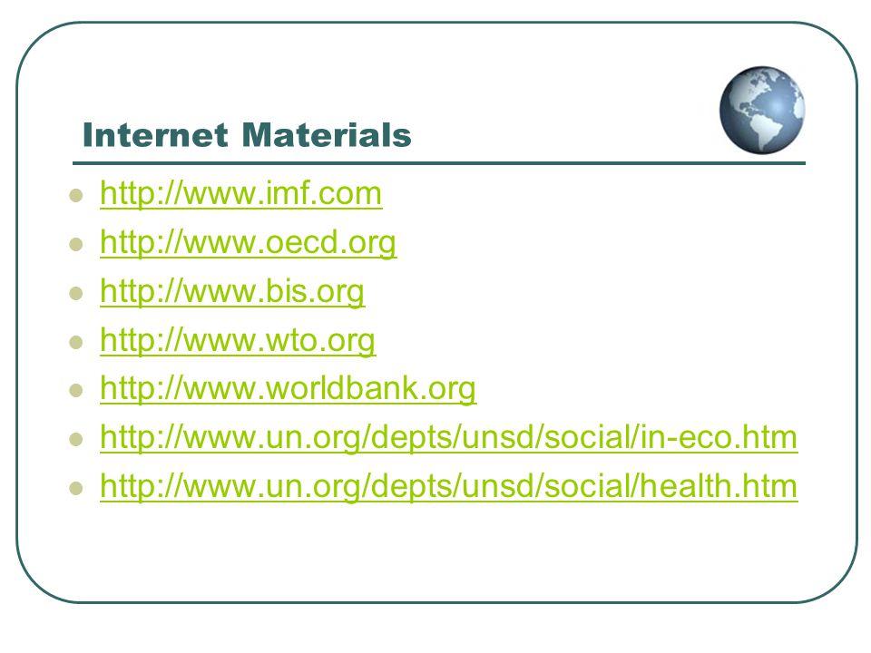 Internet Materials http://www.imf.com. http://www.oecd.org. http://www.bis.org. http://www.wto.org.